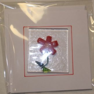 Red Flower with Stem Birthday Card
