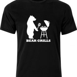 Bear Grills Funny Humour Barbeque cotton Adult t shirt