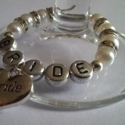"""Handmade Personalised """"Wedding Party"""" Wine Glass Charms, with Diamante Rondelle Spacers"""