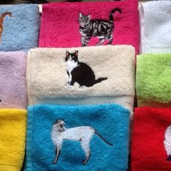 Embroidered cat design face flannel, Personalised with a name £4.95