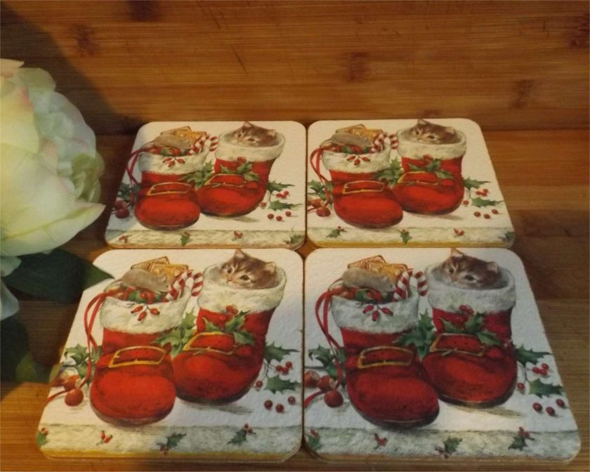 4 x Kitten in Boot Decoupaged Wooden coasters Ideal Christmas Gift 1