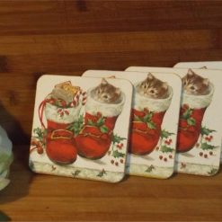4 x Kitten in Boot Decoupaged Wooden coasters Ideal Christmas Gift 3