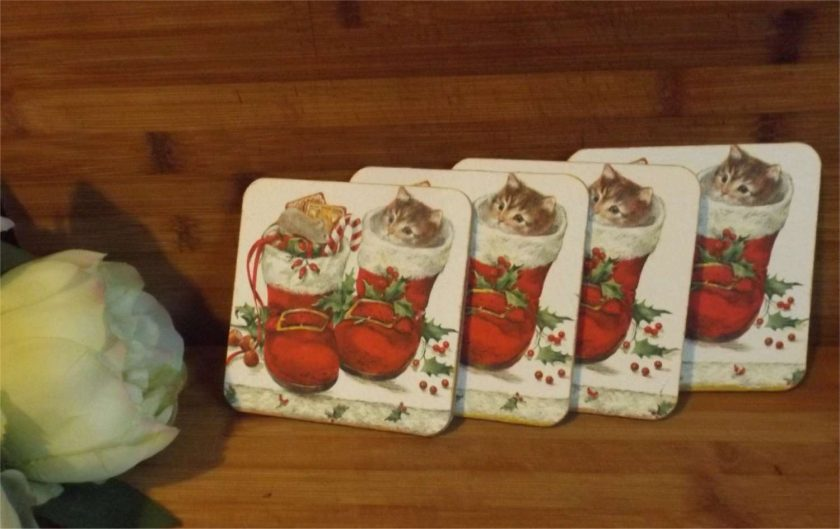 4 x Kitten in Boot Decoupaged Wooden coasters Ideal Christmas Gift 2