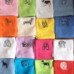 Embroidered dog design,flannel/cloth,Personalised with ONE name,£3.99