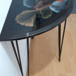 One of a kind - Half Moon Console Table with Unique Art Design Finished with Resin - recycled and re loved 13