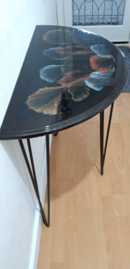 One of a kind - Half Moon Console Table with Unique Art Design Finished with Resin - recycled and re loved 1