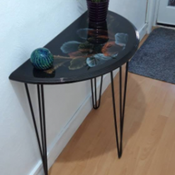 One of a kind - Half Moon Console Table with Unique Art Design Finished with Resin - recycled and re loved 12