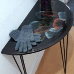 One of a kind - Half Moon Console Table with Unique Art Design Finished with Resin - recycled and re loved 15