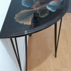 One of a kind - Half Moon Console Table with Unique Art Design Finished with Resin - recycled and re loved 17