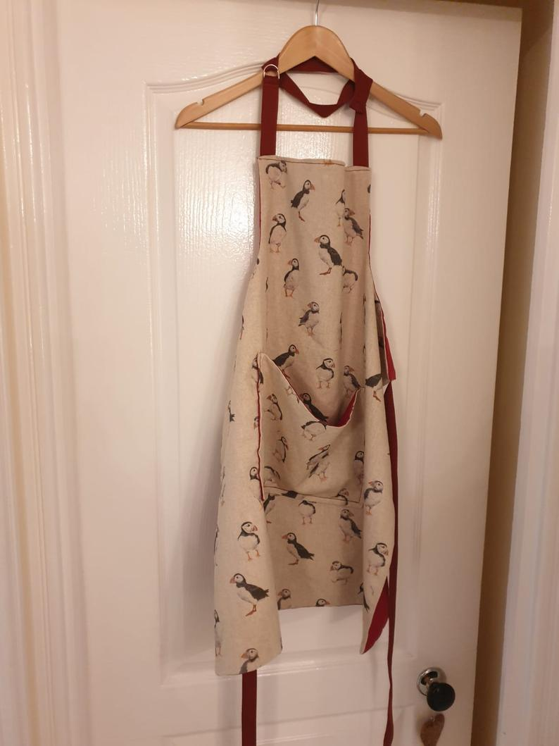 Rustic Style Apron Available in Various Prints with Pocket and Adjustable Neck Strap