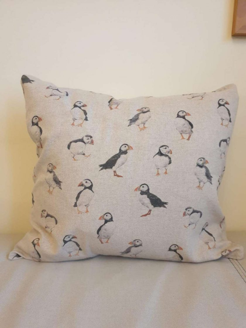 """Rustic Puffin Double Sided Print. Duck Feather Cushion. 20"""" x 20"""" Square Cushion Cover 2"""