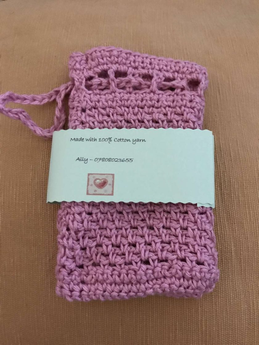 Crochet Soap Bag - Pale Pink 2