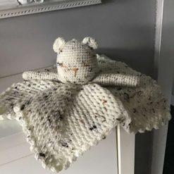Hand crochet bear comfort blankie