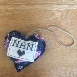 Hanging Fabric Heart with Cross Stitch Nan Design (Copy)