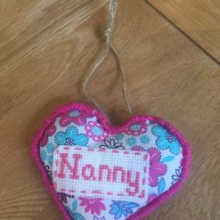 Hanging Fabric Heart with Cross  Nanny Design
