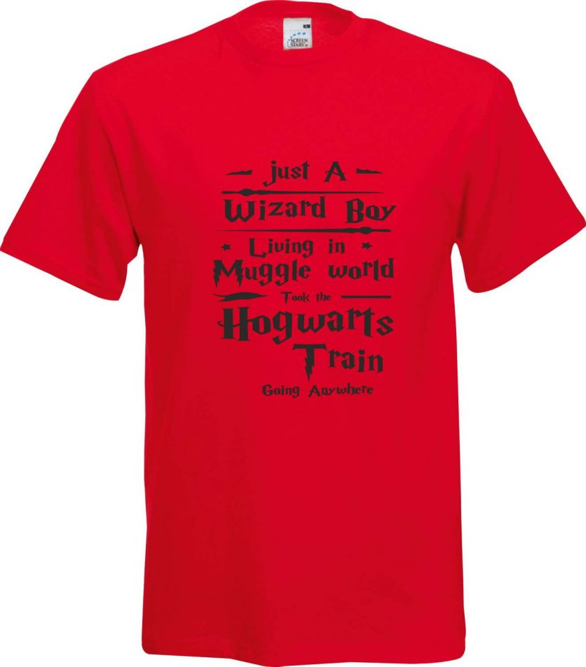 Just a Wizard Boy Living in a Muggle World took the Hogwarts Train Anywhere Harry Potter Inspired Funny Humour Christmas Birthday Present Gift 100% cotton t shirt 3