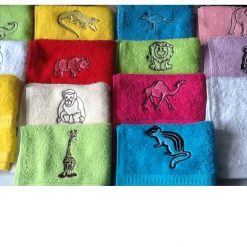 Embroidered face flannel,ZEBRA,GIRAFFE,ELEPHANT,HIPPO,LION,TIGER ETC 5