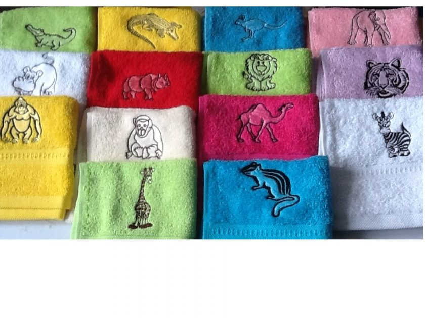 Embroidered face flannel,ZEBRA,GIRAFFE,ELEPHANT,HIPPO,LION,TIGER ETC 1