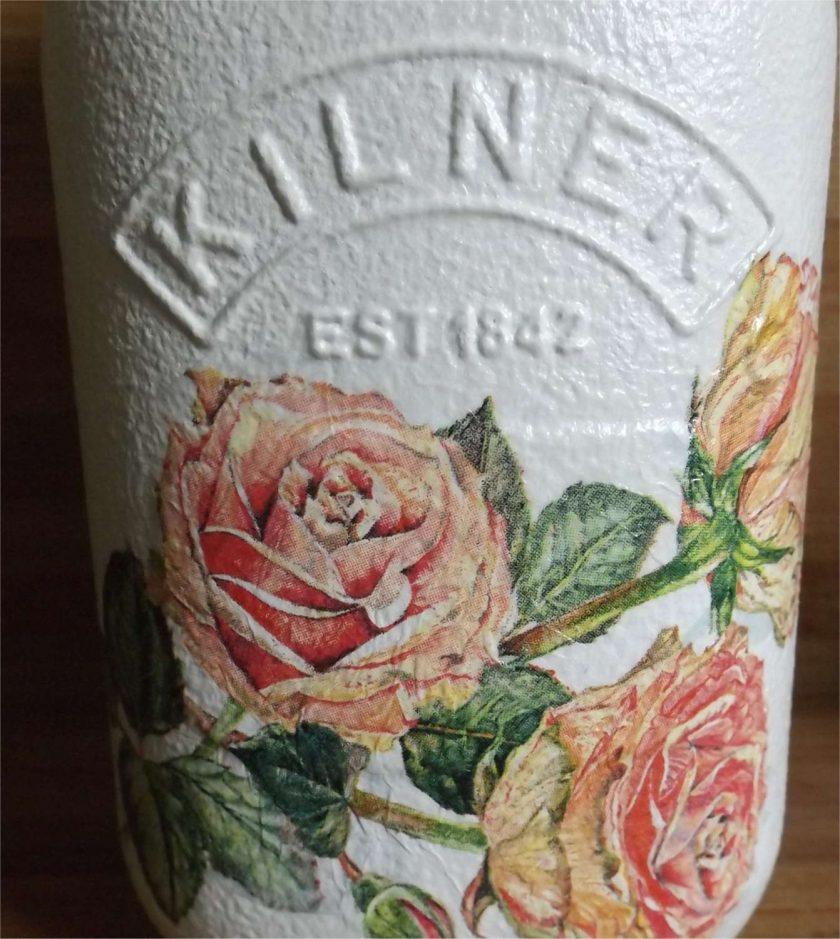 1L Rose Decoupaged Kilner Jar 1
