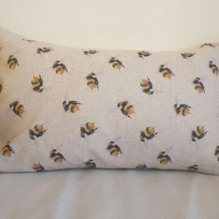 "Rustic Big Bumble Bee Double Sided Print. Duck Feather Cushion. 16"" x 26"" Rectangle Cushion Cover"