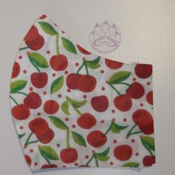 White cherry machine washable, re-usable, 2-layer fabric face mask with pocket for additional filter. 5 sizes available. Matching scrunchie available.