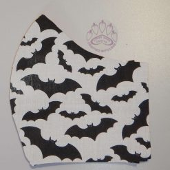 Black bats on white machine washable, re-usable, 2-layer fabric face mask with pocket for additional filter. 5 sizes available. Matching scrunchie available.