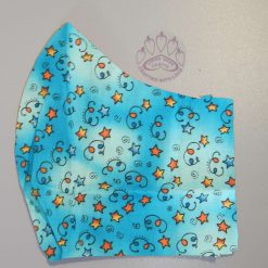 Funky stars on blue, re-usable, 2-layer fabric face mask with pocket for additional filter. 5 sizes available.