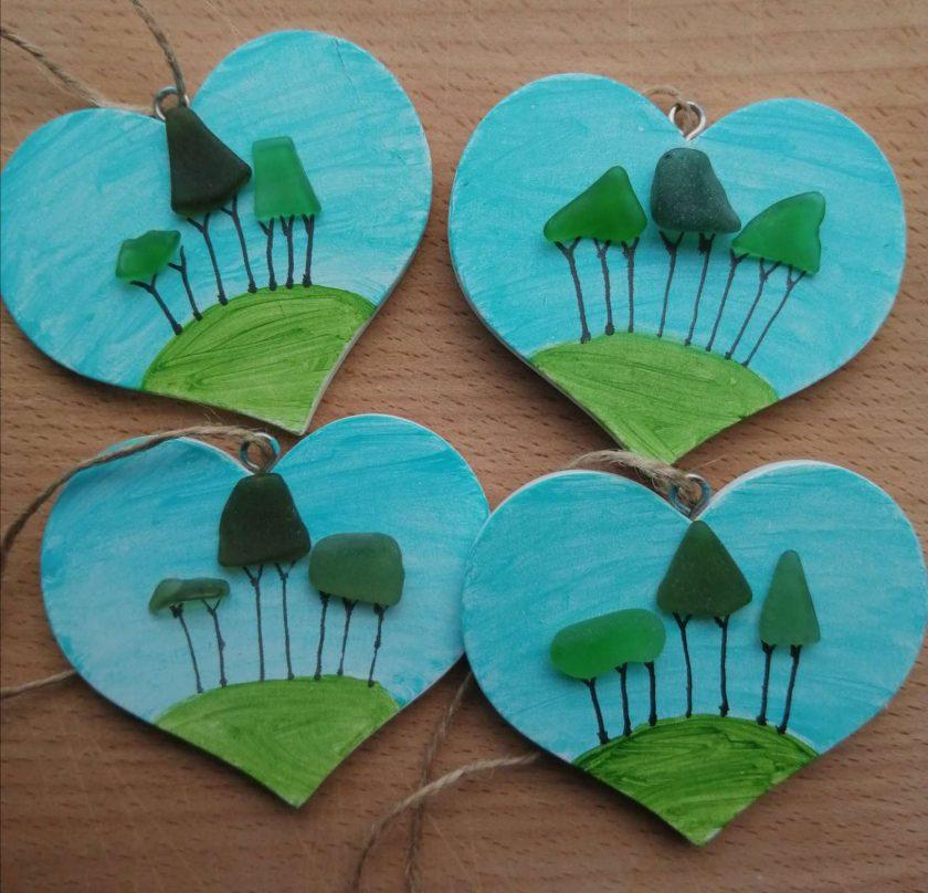 Cornish Tree heart (handpainted)