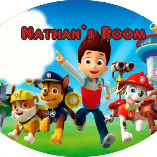 Personalised Paw Patrol Large 190MM x 140MM oval door Plaques with Fixings