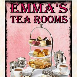 Personalised Tea Shop Tea Rooms Kitchen Wall Plaque Hanging Sign High Tea Design