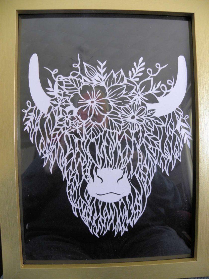 A4 Paper Cutting Highland Bull. 1