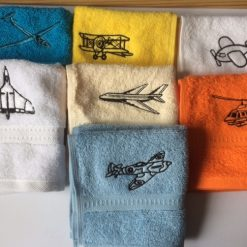 Personalised embroidered face flannel, AIRCRAFT designs £3.99