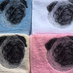Embroidered Pug design face flannel, personalised with a name, £4.50
