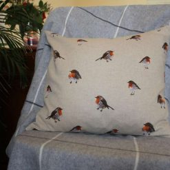 "Festive Robin Double Sided Print. Duck Feather Cushion. 20"" x 20"" Square Cushion Cover"
