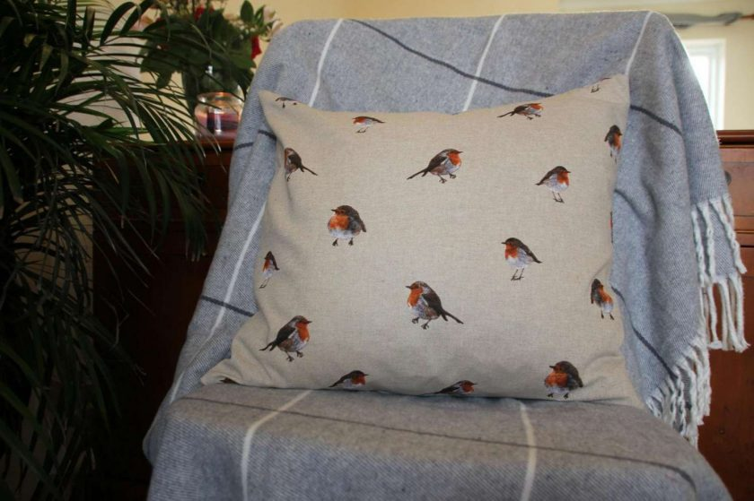 "Festive Robin Double Sided Print. Duck Feather Cushion. 20"" x 20"" Square Cushion Cover 1"