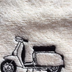 Personalised embroidered face flannel,Lambretta scooter design £4.45