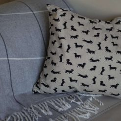 "Rustic Dachshund Silhouette Double Sided Print. Duck Feather Cushion. 20"" x 20"" Square Cushion Cover"
