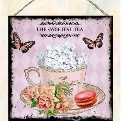 The Sweetest Tea Cup Pink Design Vintage Style Wall Plaque