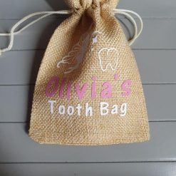 Personalised Tooth Fairy Bag - choose the colour text