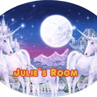 Personalised Unicorns in the Moonlight Large 190MM x 140MM oval door Plaques with Fixings