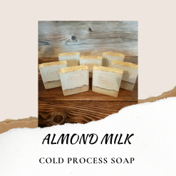 Handmade Artisan Almond milk cold process soap, free postage uk ,CPSR ,vegan friendly ,cruelty free