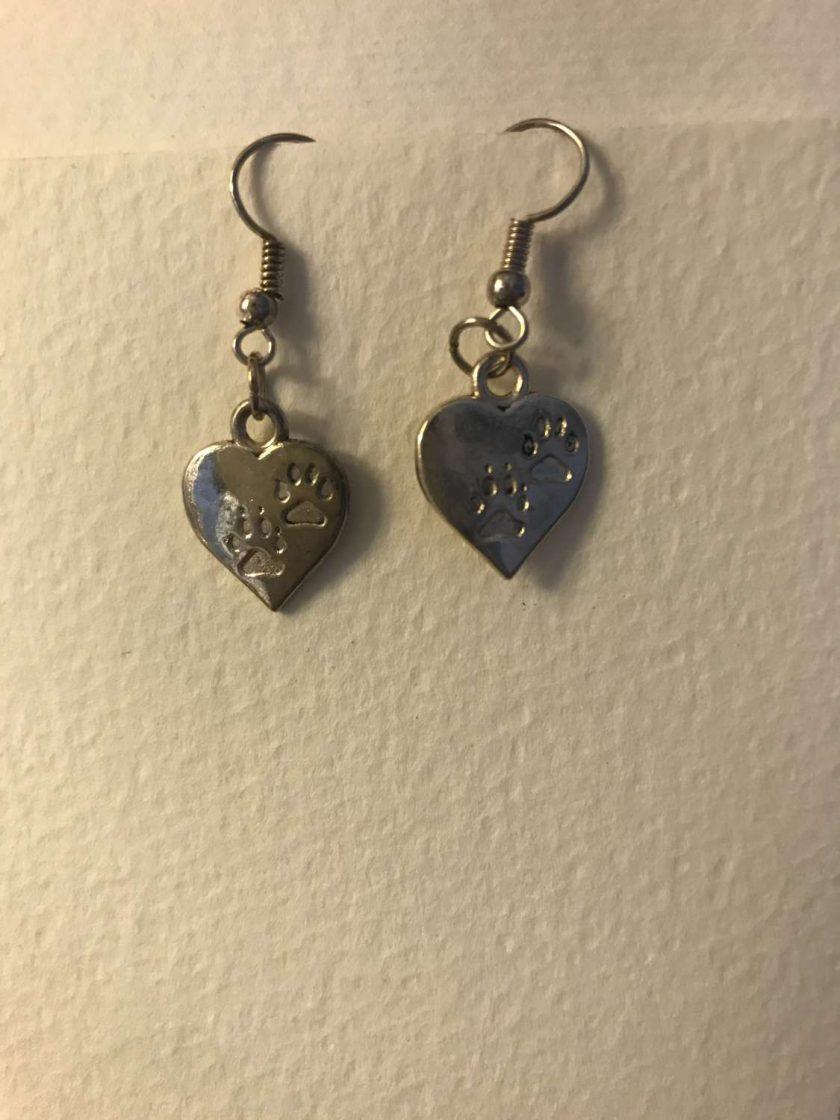 Paw Print Heart Earrings 1