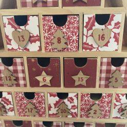 wooden Christmas tree advent calendar / red / fee p.p 12