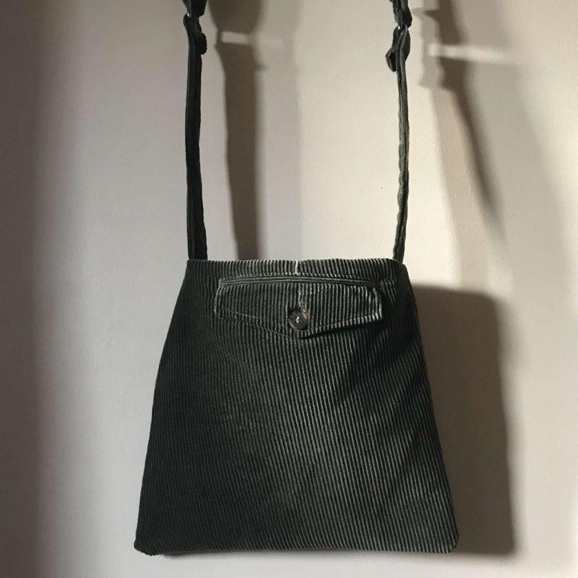 Upcycled Green Corduroy Bag 2