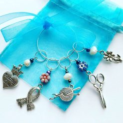 Stitch Markers, Freshwater Pearl stitch markers, knitting themed stitch markers