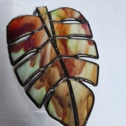 Monstera Glass- Stained Glass Monstera leaf wind spinner - Green/Brown