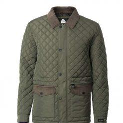 Mens classic quilt winter jacket -- Silver Birch Green Thumb