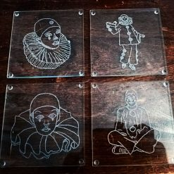 Engrave Pierrot Glass Coasters