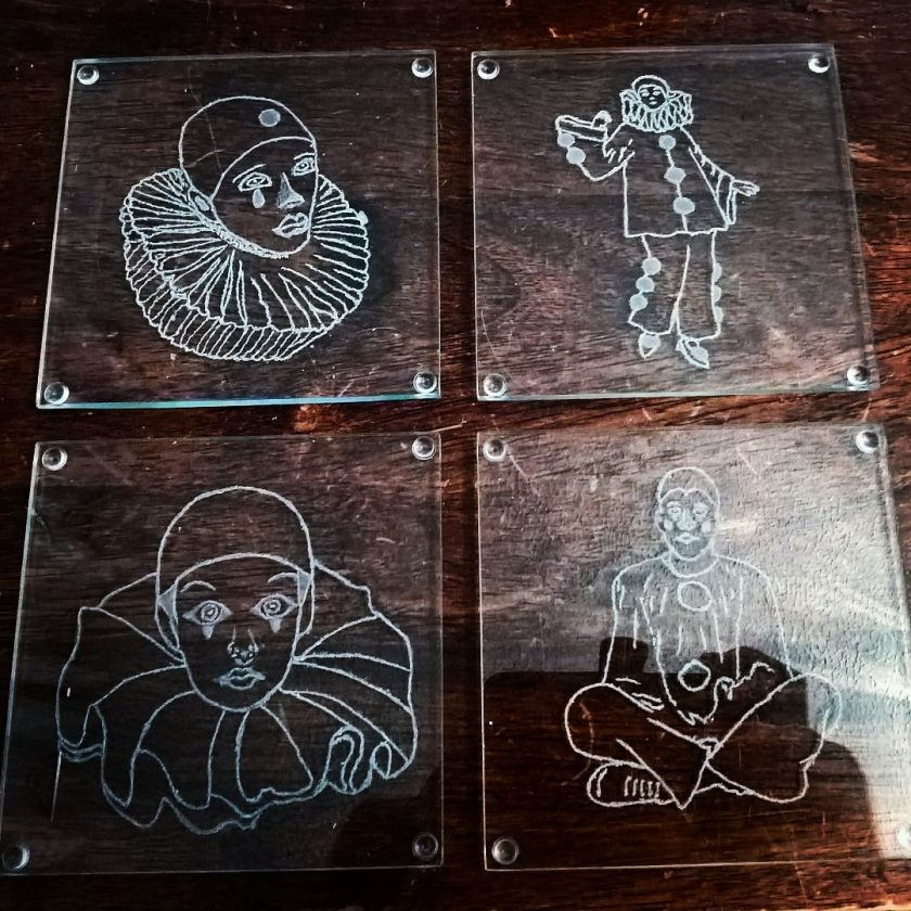 Engrave Pierrot Glass Coasters 1