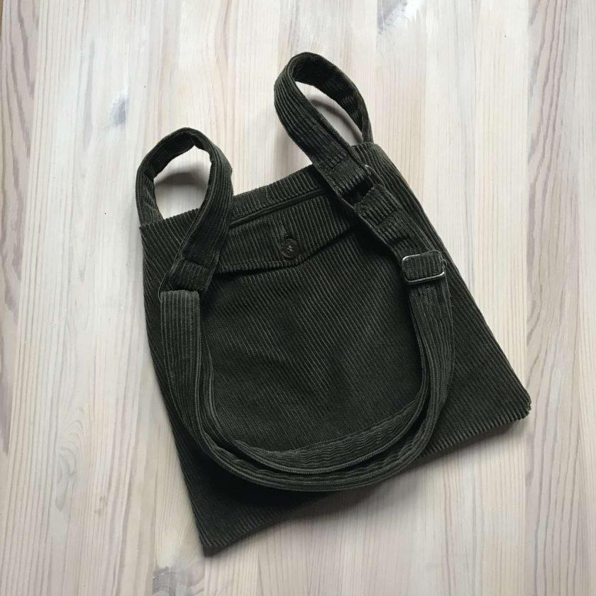 Upcycled Green Corduroy Bag 1
